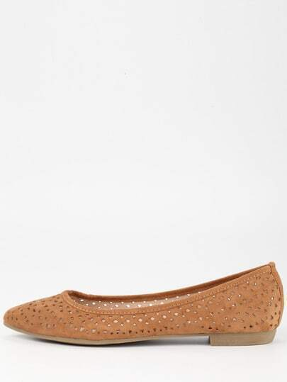 Laser-Cut Pointed Toe Flats - Brown