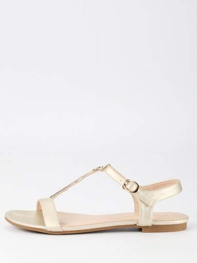 Metal Plate T-Strap Gold Sandals