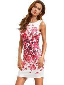 Red Sleeveless Vintage Print Dress