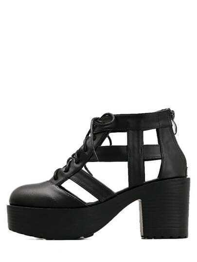 Black Round Toe Hollow Lace-up Chunky Sandals