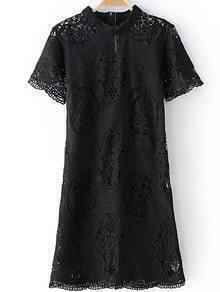 Black Mock Neck Zipper Back Hollow Lace Dress