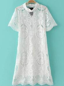 White Mock Neck Zipper Back Hollow Lace Dress