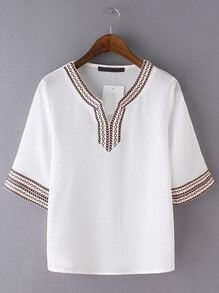 White V Neck Plait Shirt