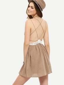 Coffee Sleeveless Criss Cross Backless Dress