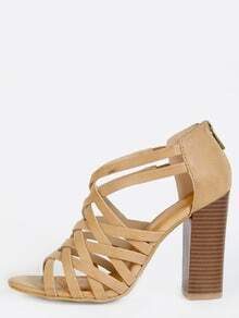 Strappy Stacked Heels NATURAL