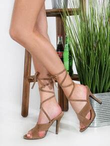 Faux Suede Tie Up Backless Heels TAUPE