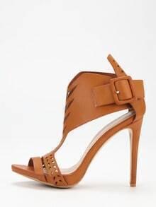 Brown Laser Cut T-strap Ankle Cuff Heels