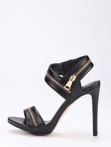 Zipper Embellished Strappy Heels - Black