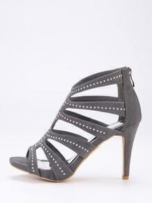 Grey Faux Suede Caged Studded Peep Toe Pumps
