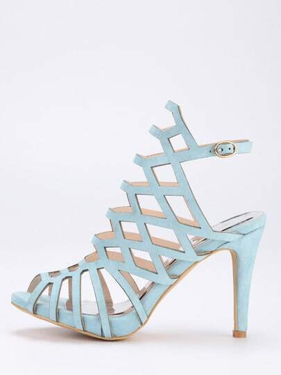 Caged Peep Toe Slingback Sandals - Blue