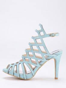 Caged Peep Toe Slingback Heels - Blue