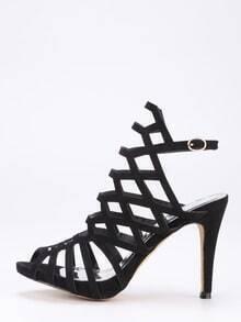 Caged Peep Toe Slingback Heels - Black