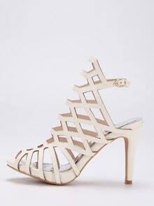 Caged Peep Toe Slingback Sandals - Beige