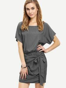 Grey Round Neck Tie Waist Asymmetrical Dress