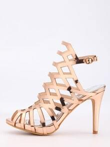 Caged Peep Toe Slingback Heels - Rose Gold