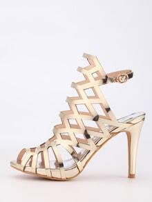Caged Peep Toe Slingback Sandals - Gold