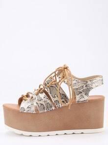 Snake Embossed Lace-Up Platform Sandals - Apricot