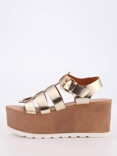 Caged Ankle Strap Platfom Wedges - Gold