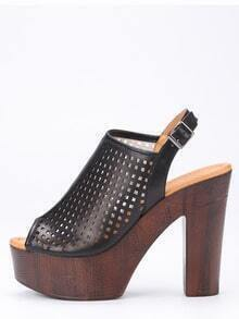 Laser-Cut High Vamp Platform Heels - Black