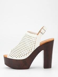 Laser-Cut High Vamp Platform Heels - White
