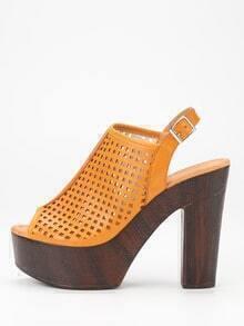Laser-Cut High Vamp Platform Heels - Apricot