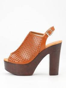 Laser-Cut High Vamp Platform Wedges - Camel