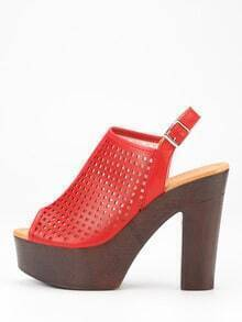 Laser-Cut High Vamp Platform Heels - Red