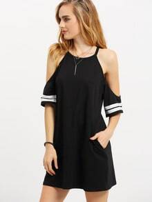 Black Cold Shoulder Half Sleeve Pockets Dress