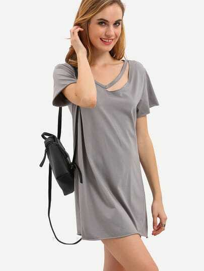 Dark Grey Short Sleeve Hollow T-shirt Dress