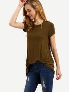 Army Green Short Sleeve U Back T-shirt