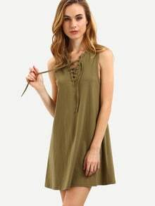 Army Green Sleeveless Lace Up Vest Dress