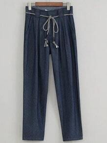 Blue Tie Waist Pockets Denim Pants