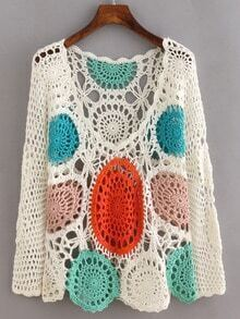 Multicolor Long Sleeve Scoop Neck Crochet Blouse