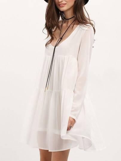 White V Neck Long Sleeve Pleated Dress