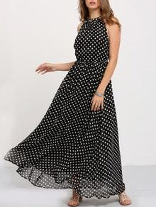 Black Sleeveless Polka Dot Maxi Dress