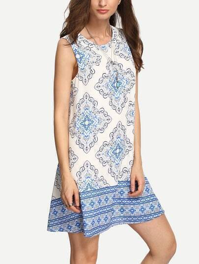 Blue Print Cut-out Back Shift Dress