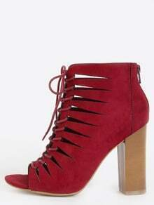Panel Cut Out Ankle Booties BURGUNDY