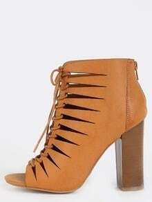 Laser Cut Lace Up Ankle Boots NATURAL