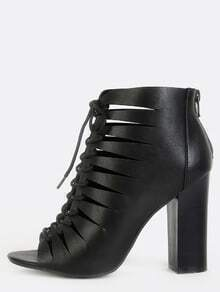 Faux Leather Cut Out Ankle Boots BLACK