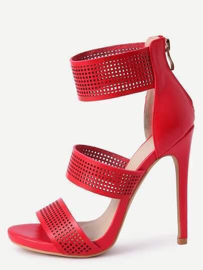 Red Zipper PU High Heeled Sandals