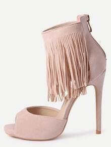 Apricot Faux Suede Fringe Platform High Heel Sandals