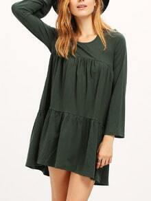 Dark Green Round Neck Pleated Babydoll Dress
