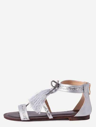 Silver Fringe Flat Sandals