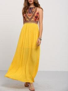 Golden Sleeveless Vintage Print Maxi Dress