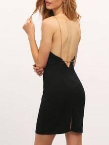 Black Split Backless Spaghetti Strap Dress