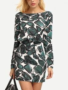 Green Crew Neck Print Sheath Dress