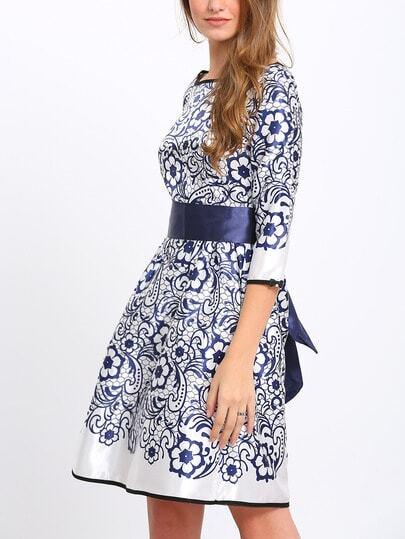 Flower Print Bow Tie Waist Blue Dress