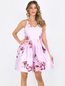 Pink Flower Print Criss Cross Back Dress