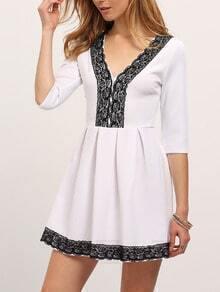 White Deep V-neck Lace Embellished Flare Dress
