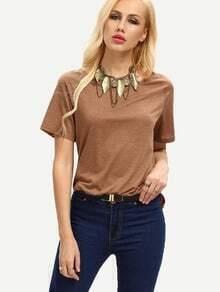 Dark Brown Short Sleeve Split Side T-shirt